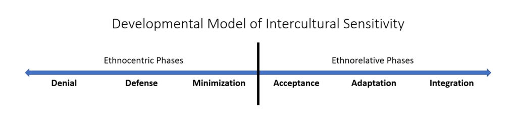 The phases of the Bennett Developmental Model of Intercultural  Sensitivity: Denial, Defense, Minimization, Acceptance, Adaptation,  Integration.