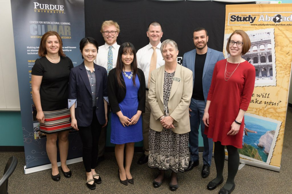 Transculturation Research Team with Katherine Yngve, CILMAR Associate Director of Intercultural Outcomes Assessment, Spring 2018  Front Row, L-R: Parva Panahi, Yiqiu Yan, Phuong Tran, Katherine Yngve, Rebekah Sims. Back Row, L-R: Ryan Day, Bradley Dilger, Hadi Banat.  Photo Credit: CILMAR Purdue. Used with permission.